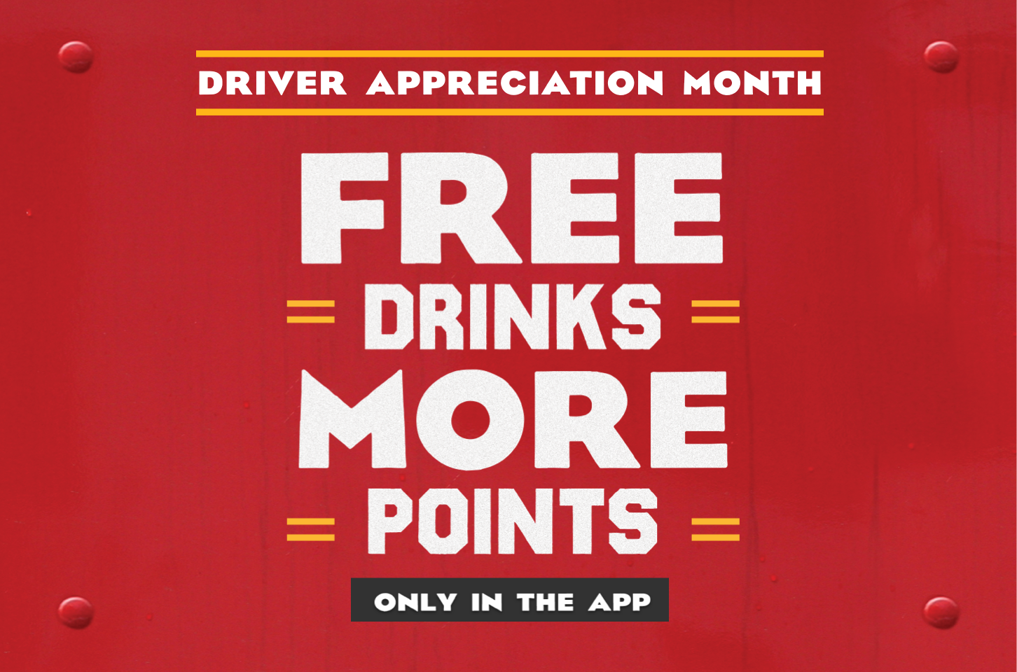 Free drinks and more points exclusively for pro drivers in the myRewards Plus™ app all September for Driver Appreciation month, available to redeem at more than 750 Pilot Flying J Travel Centers.