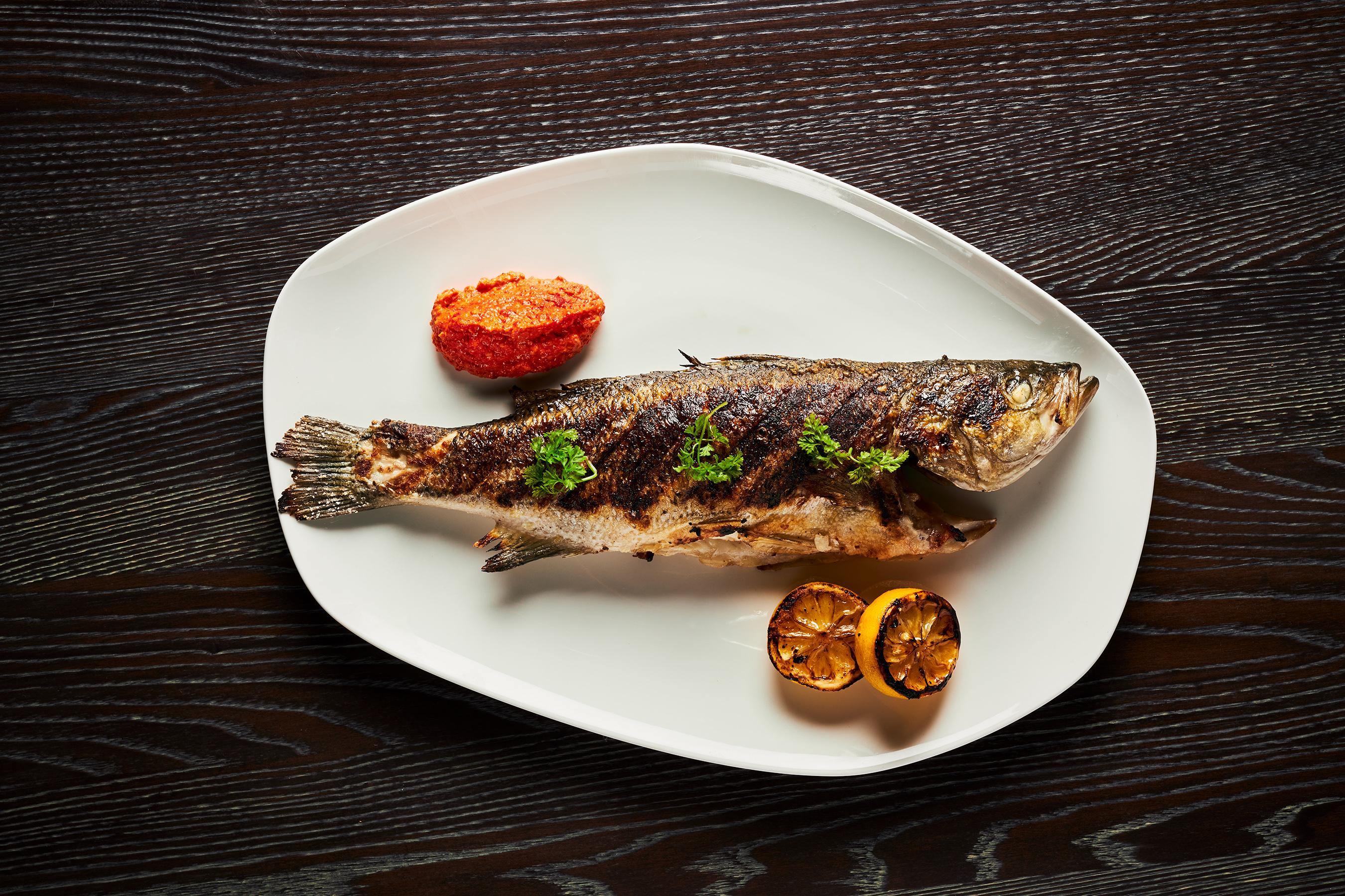 Whole Roasted Fish with Calabrian Pepper Pesto and Roasted Lemon at Amalfi by Bobby Flay at Caesars Palace