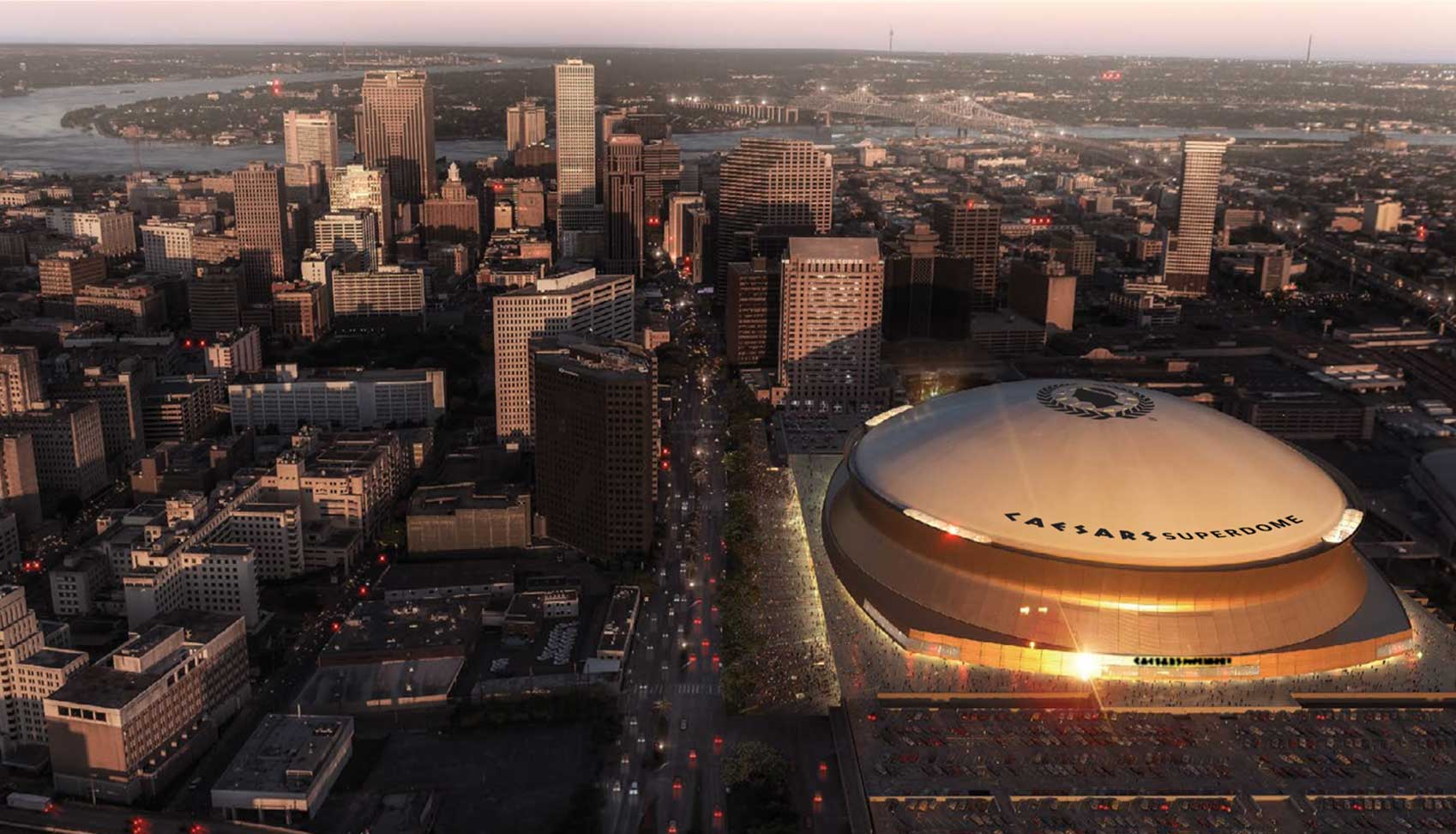 Aerial rendering of New Orleans' iconic downtown stadium, rebranded Caesars Superdome, in partnership with the New Orleans Saints and Caesars Entertainment. New Orleans Saints & Infinite Scale.