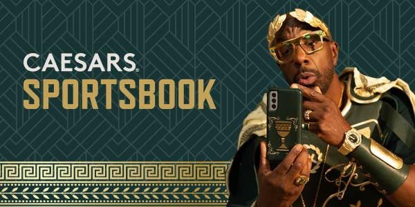 Caesars Sportsbook official logo and brand campaign poster with JB Smoove as Caesar.