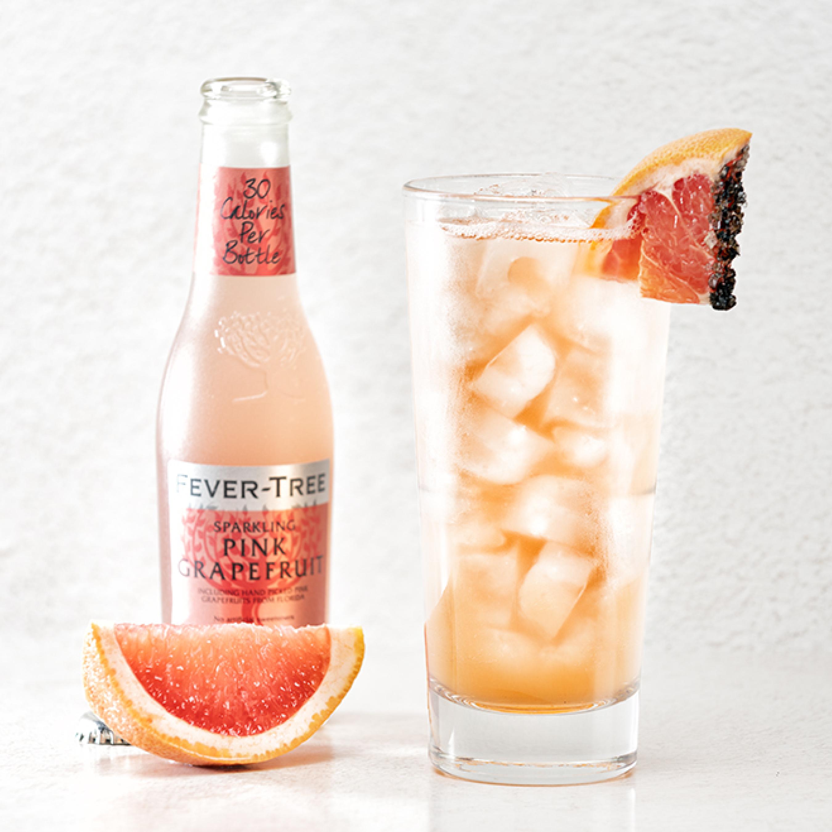 Ruby & Rose Cocktail: Ketel One Botanical Grapefruit & Rose, Aperol, simple syrup, lemon, Fever Tree Grapefruit Soda, grapefruit, black Hawaiian sea salt