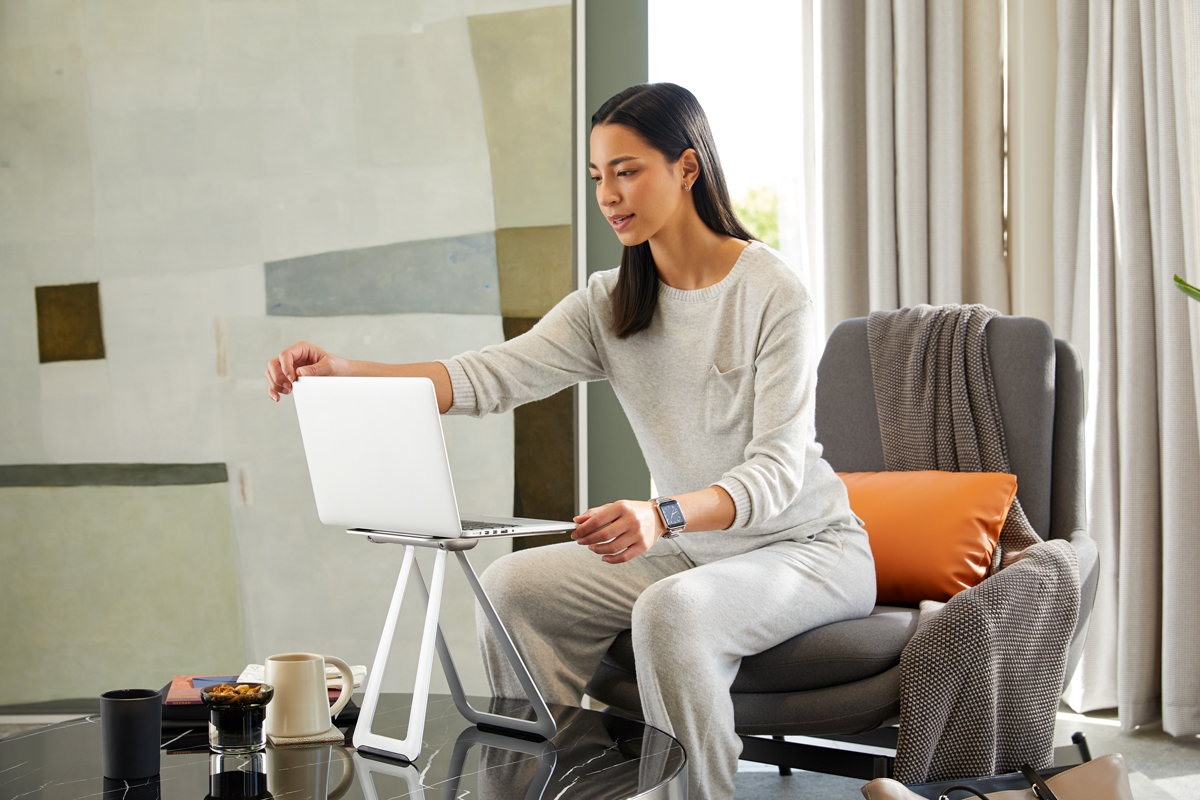 Work elevated from anywhere with the Portable Laptop Stand. It's ideal for working from home, especially in apartments and smaller spaces. Strong and sturdy, it's made of high-quality aluminum.