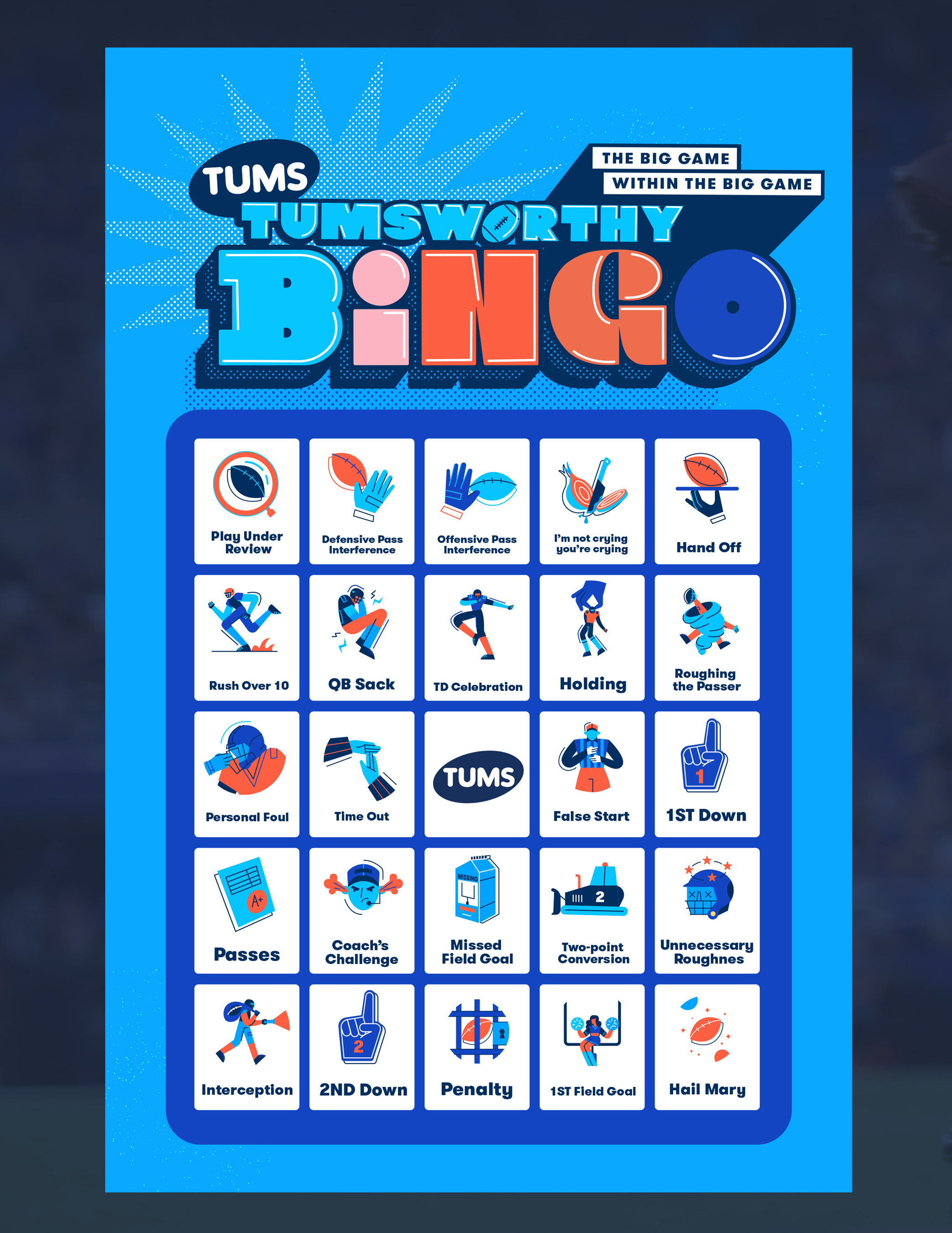 Fans can download their official digital game board from @TUMSOfficial beginning today and follow along during the BIG GAME on February 7.