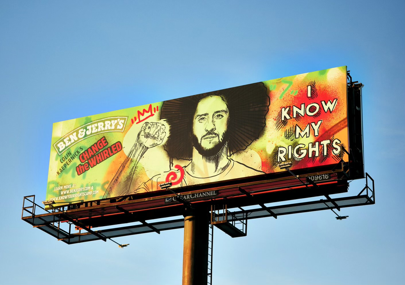 "Ben & Jerry's put billboards up in Tampa and other markets, promoting its ""Change the Whirled"" non-dairy flavor and partnership with Colin Kaepernick. The non-dairy dessert was created to honor Kaepernick's courageous fight against police violence and systemic racism."