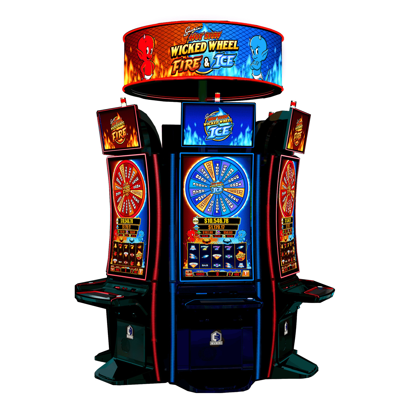 Smokin' Hot Stuff Wicked Wheel Fire & Ice also features a new, frequent, bank-wide jackpot enhancement that delivers a limited-time boost to upgrade any awarded progressive prize in the pick bonus with the next largest progressive prize instead.