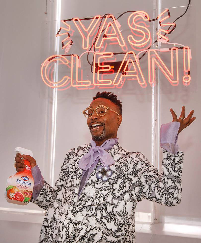 Billy Porter posing with Clorox Scentiva