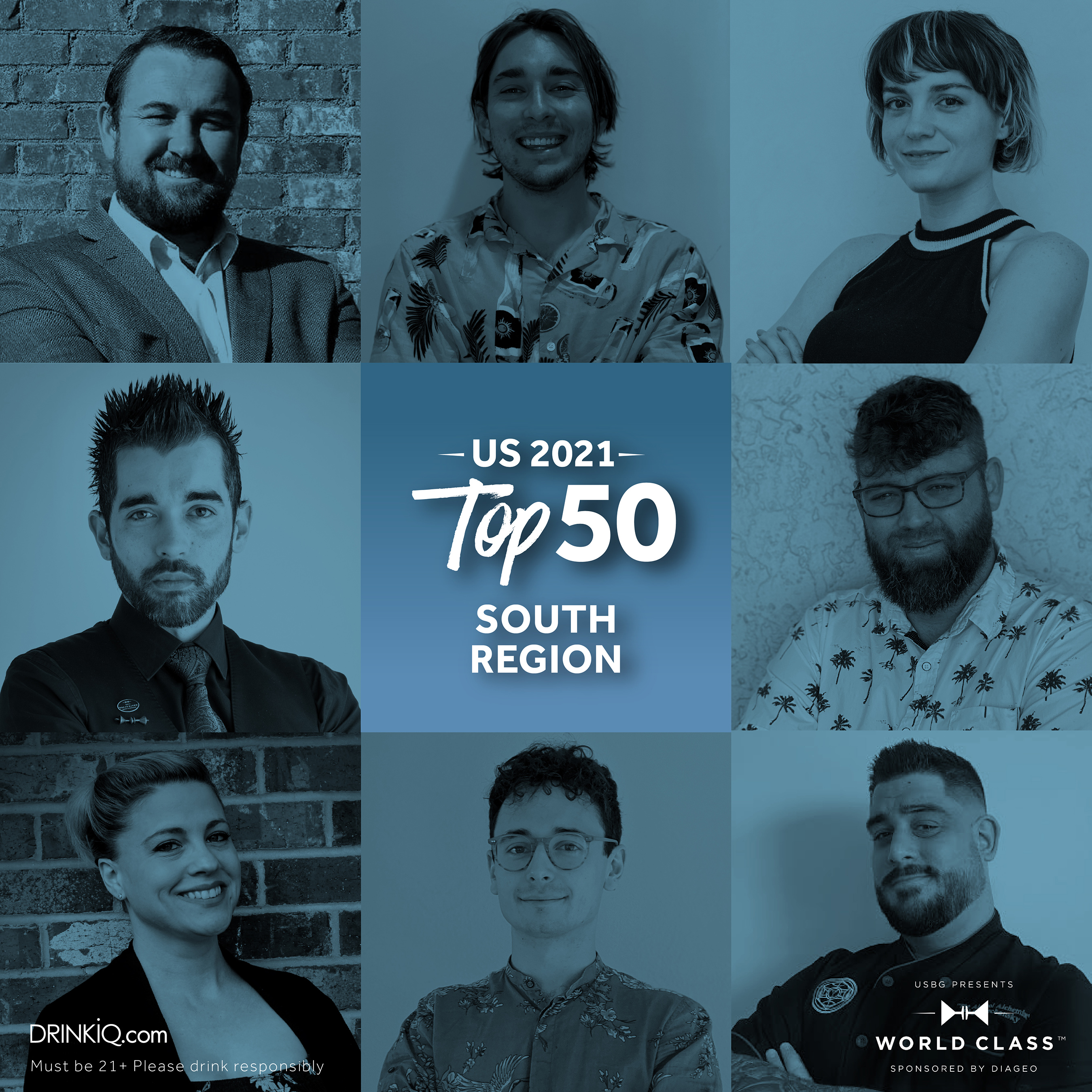 These eight bartenders will be competing for the title of USBG World Class Bartender of the Year. Which of these competitors will represent the South at Finals