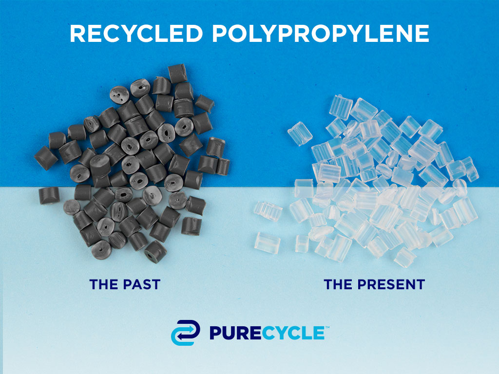 PureCycle offers the only patented recycling process for polypropylene that separates color, odor and other contaminants from plastic waste, transforming it into recycled polypropylene with virgin-like properties.