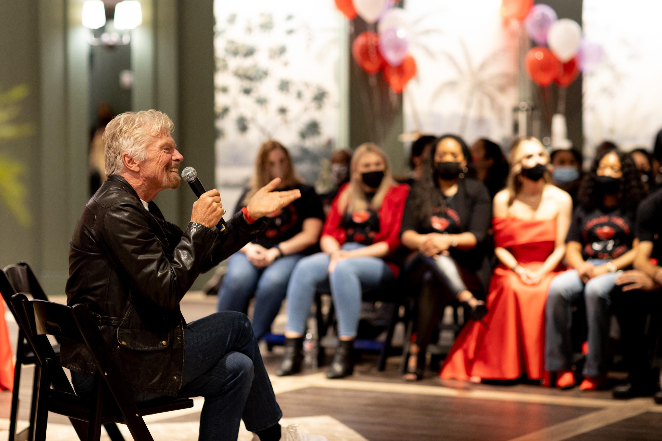 Sir Richard Branson addresses the media