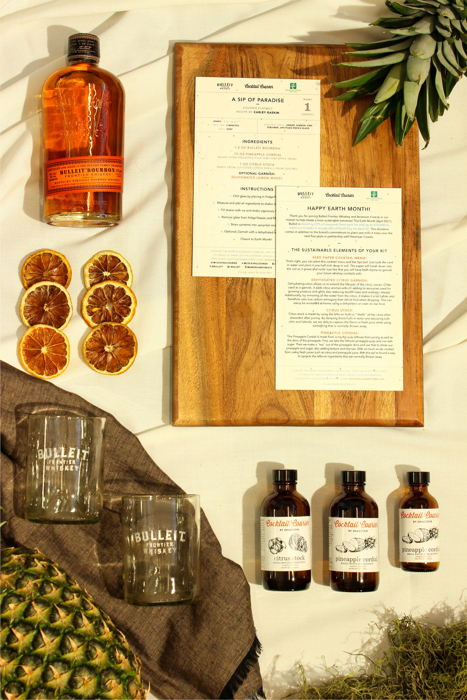 THIS APRIL BULLEIT FRONTIER WHISKEY HAS TEAMED UP WITH AMERICAN FORESTS AND COCKTAIL COURIER TO CREATE A LIMITED-EDITION ECO-FRIENDLY COCKTAIL KIT IN CELEBRATION OF EARTH MONTH AND EARTH DAY ON APRIL 22.