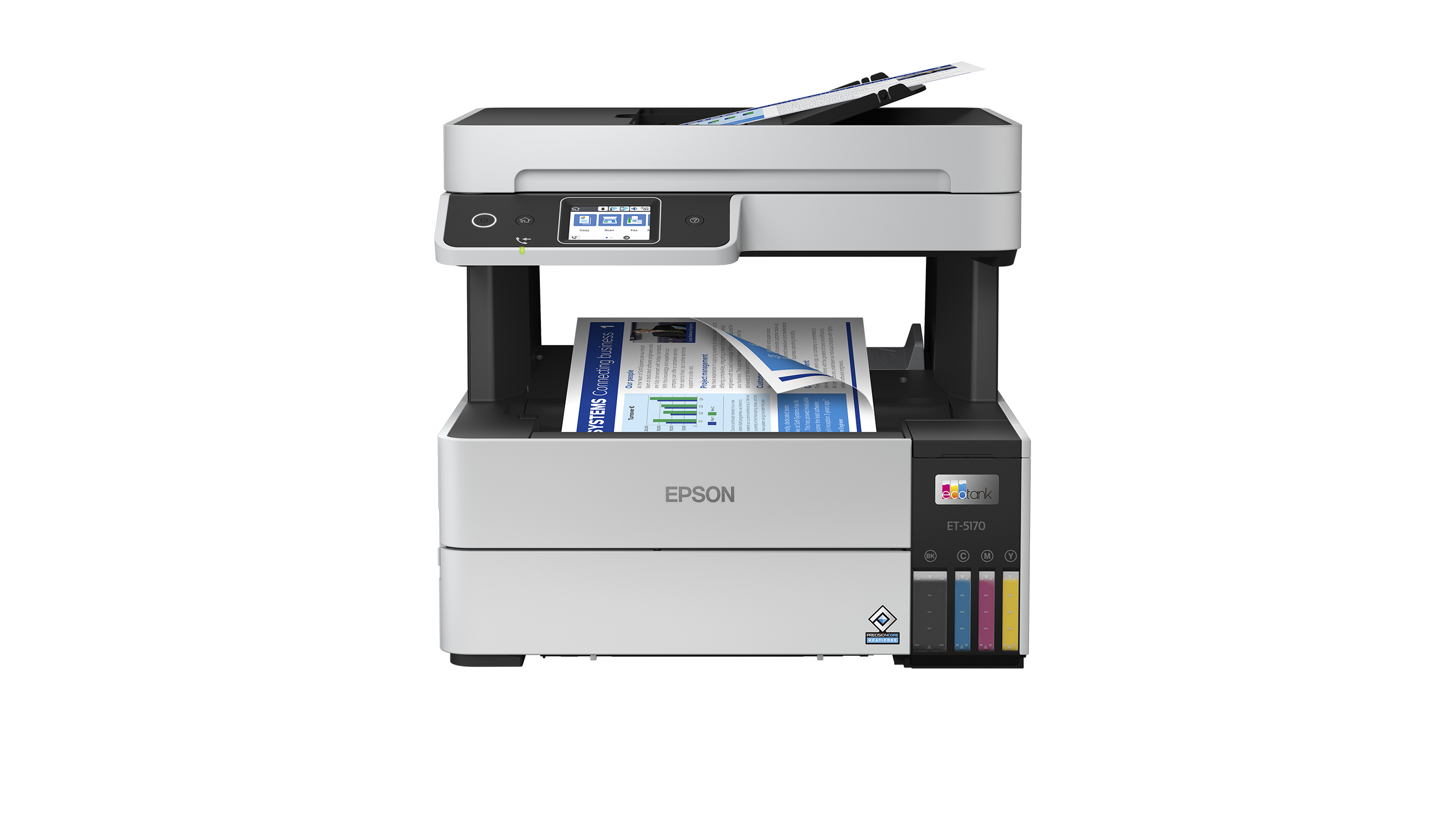 The EcoTank Pro ET-5170 delivers professional-quality prints and allows users to save up to 80 percent on ink, with low cost replacement ink bottles, ideal for high-volume business printing.