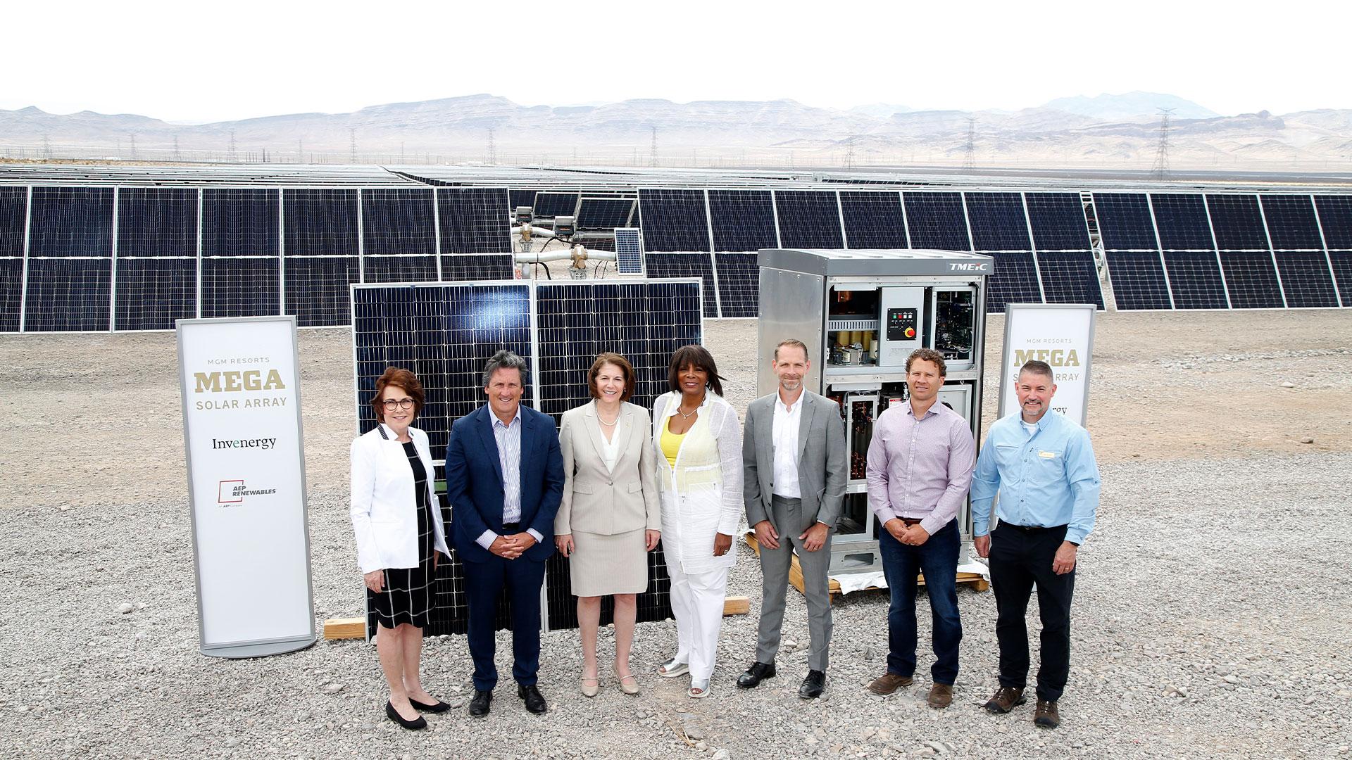 U.S. Sen. Jacky Rosen, MGM President & CEO Bill Hornbuckle, U.S. Sen. Catherine Cortez Masto, Rose McKinney-James, Greg Hall, Bo Alley and Jon K. Raby at the MGM Resorts solar array launch.