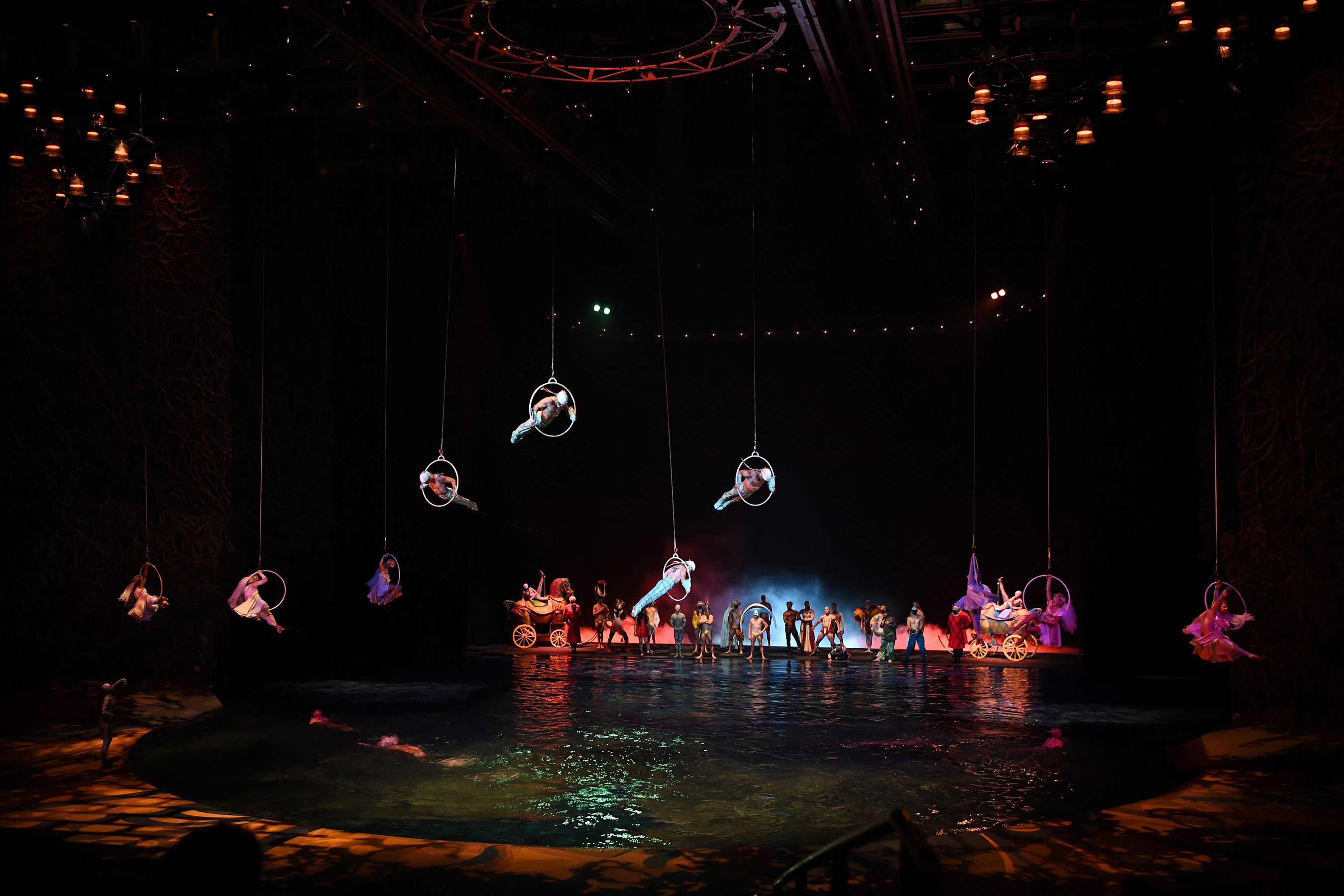 """""""O"""" by Cirque du Soleil, which has been enjoyed by more than 17 million people, celebrates its first performance in 16 months at Bellagio before a sold-out crowd on July 1, 2021"""