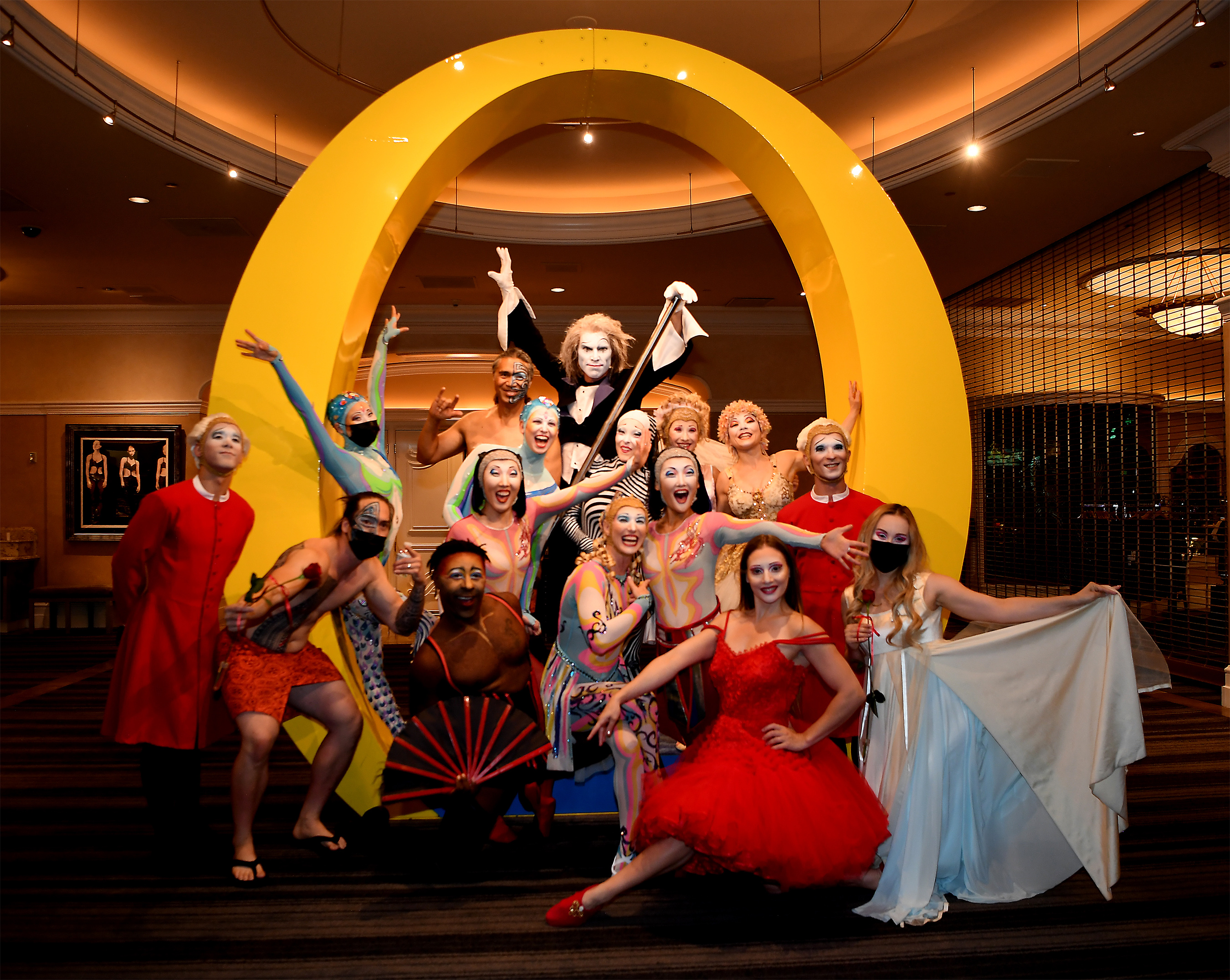 """The spectacular cast of """"O"""" by Cirque du Soleil prepares to take the stage at Bellagio for the first time in 16 months, July 1, 2021"""