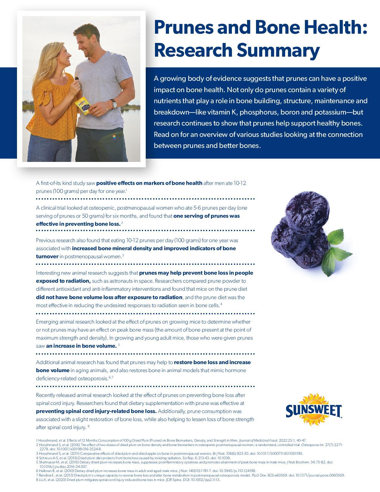 Sunsweet Bone Health Research Summary