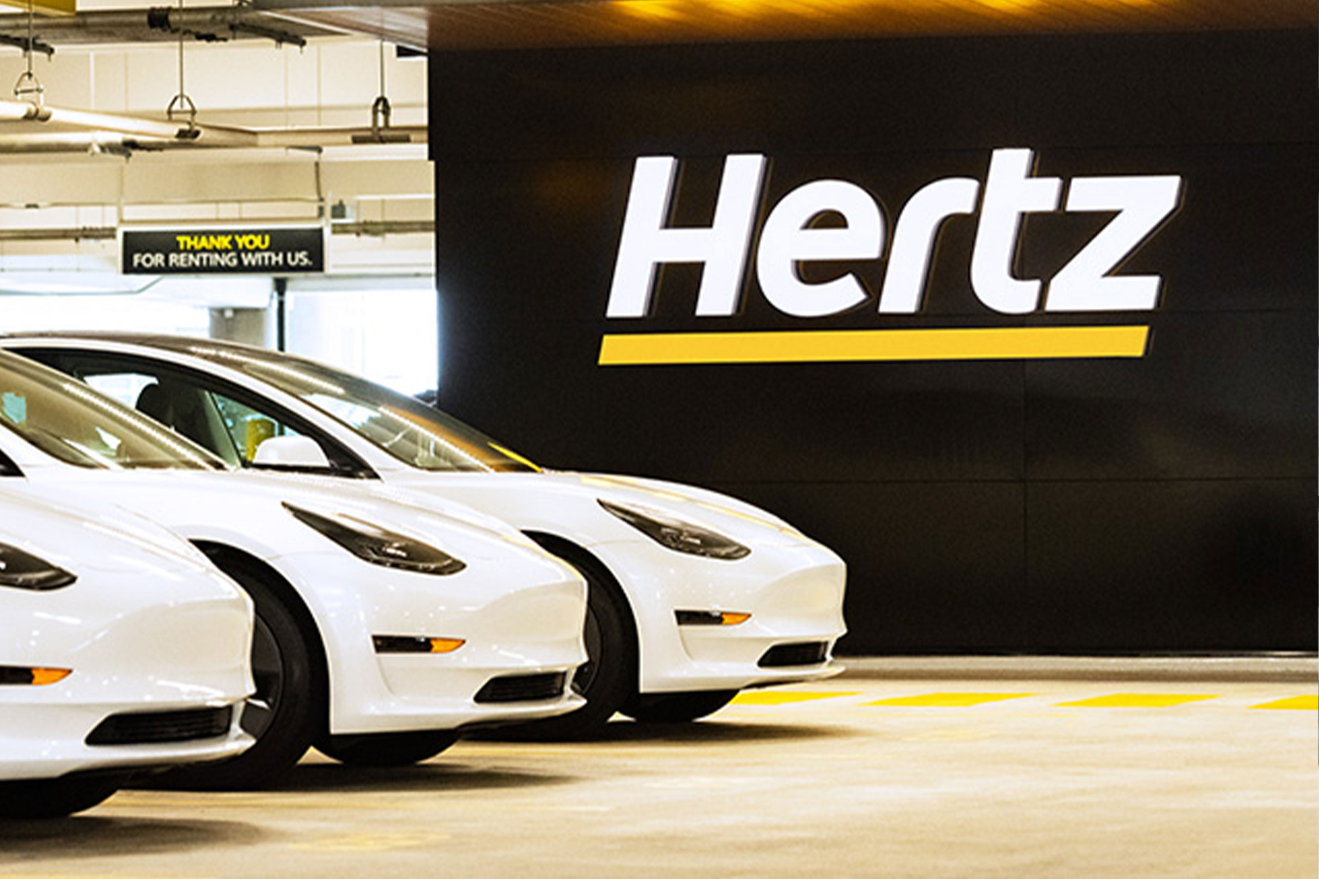 Tesla Model 3 electric vehicles at a Hertz airport location. Photo by E.R. Davidson