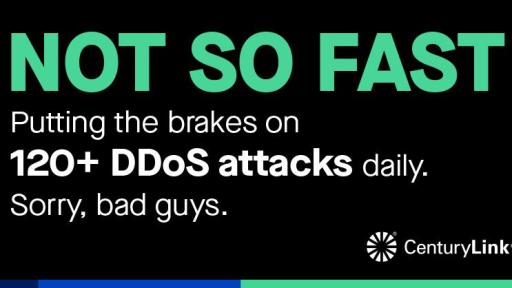 "Graphic card reading: ""NOT SO FAST. Putting the brakes on 120+ DDoS attacks daily. Sorry, bad guys."""
