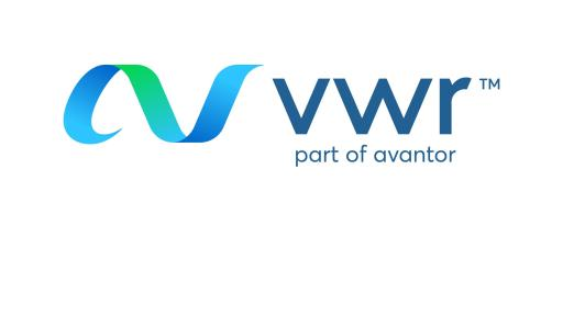 New VWR Logo with the blue green logo swirl.
