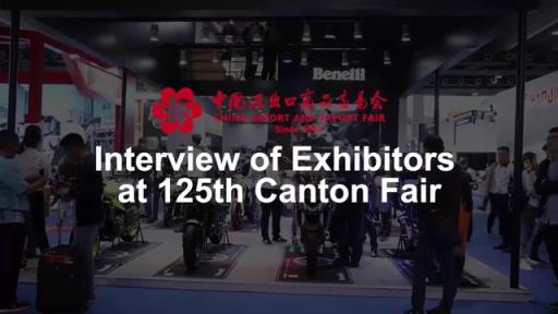 Interview d'exposants à la 125è Foire de Canton (Zhejiang Qianjiang Motorcycle Co., LTD)