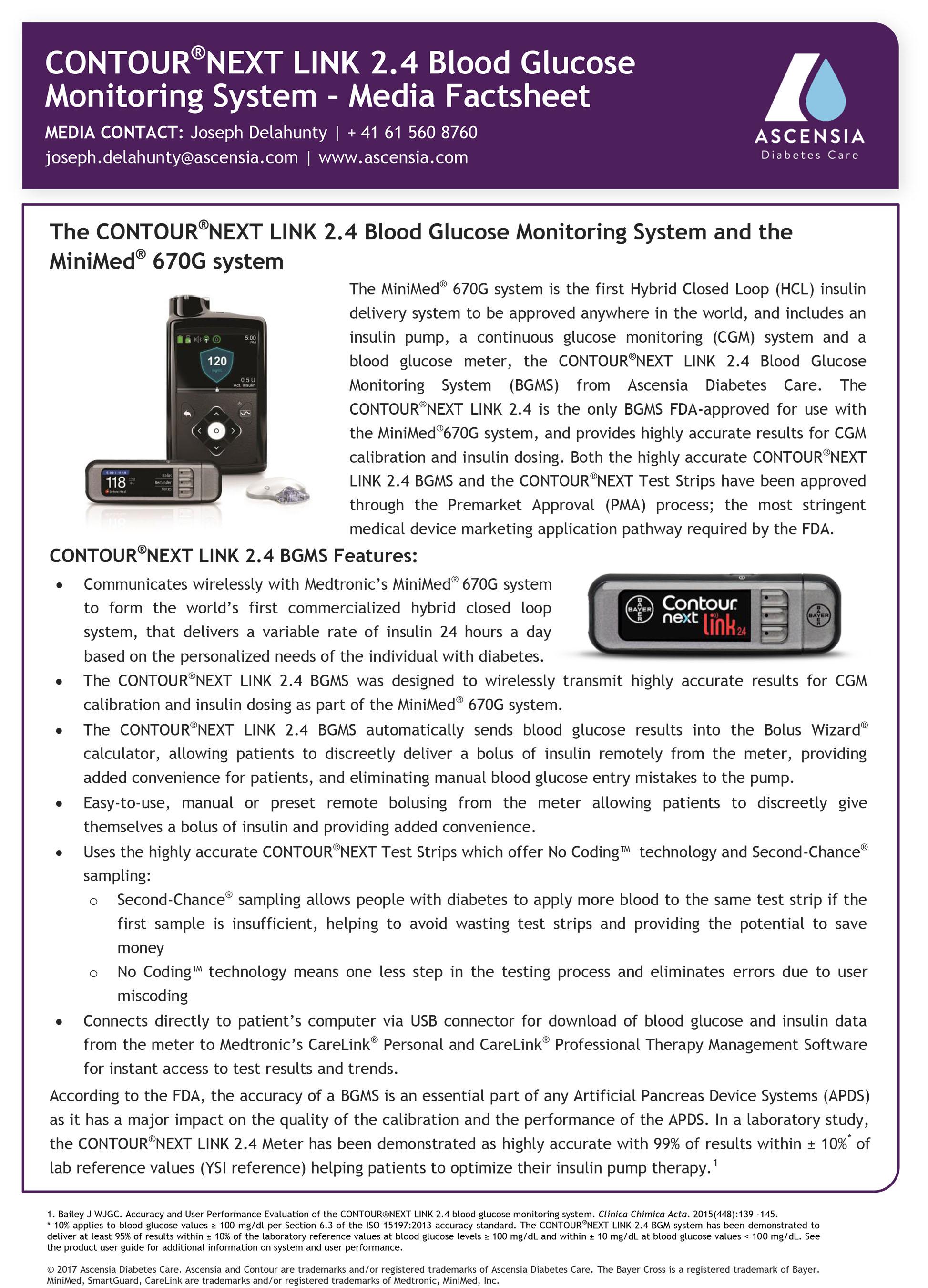 Medtronic Artificial Pancreas >> Contour®next link 2.4 from ascensia diabetes care