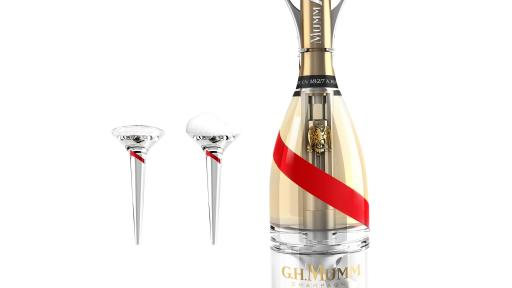 Bottle of Mumm Grand Cordon Stellar With Two Glasses