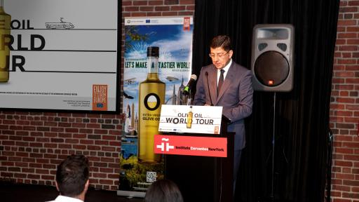 Image of speaker at Olive Oil World Tour presentation in the Instituto Cervantes of New York