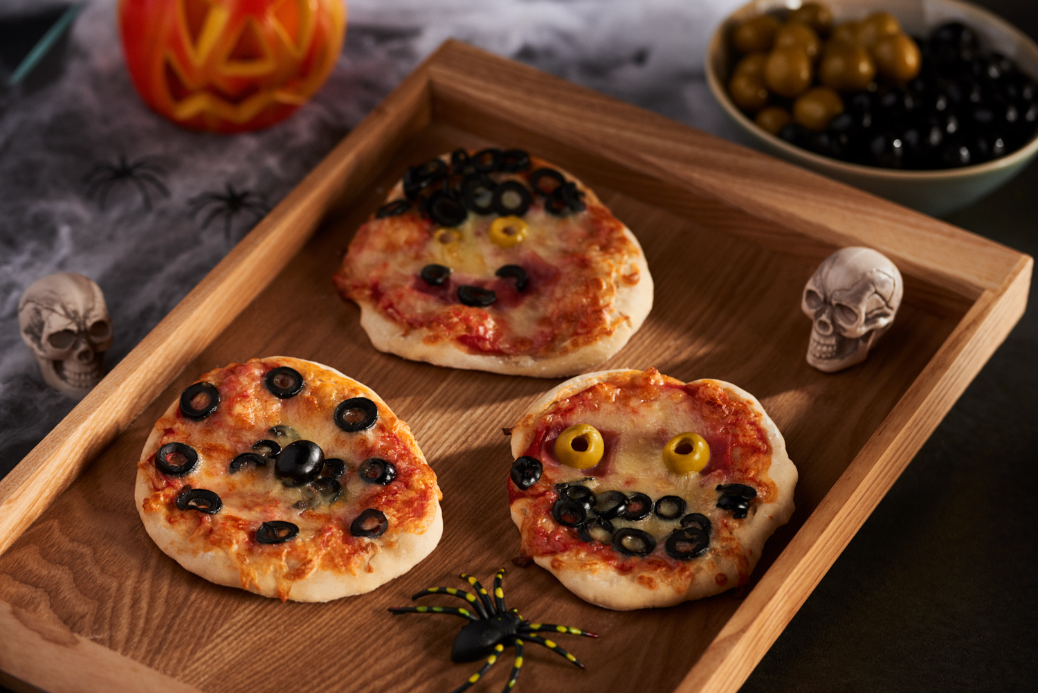 olives from spain introduce their olives halloween mini pizzas recipe