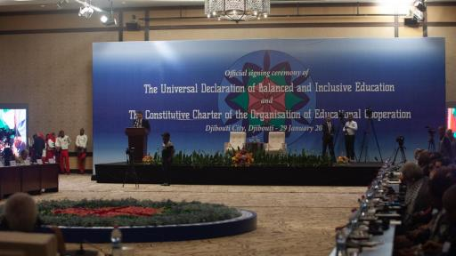 The Universal Declaration of Balanced and Inclusive Education was signed by 38 representatives of governments, civil society and academia, while the Organisation of Educational Cooperation was signed by 30 of those representatives.