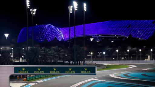Image of Yas Island illuminated blue during the Abu Dhabi Grand Prix in honour of frontline workers