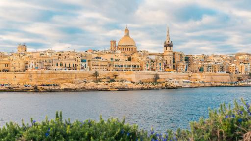 Image of Valletta, Malta - old town skyline from Sliema city, other side of the harbour.